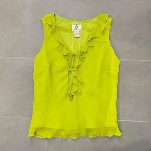 Vintage Y2K Lime Green Silk Ruffle Tank Blouse